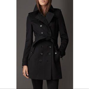 Authentic Burberry Black Wool Cashmere Coat